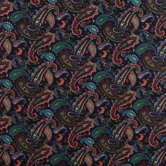 Dark Blue & Red Paisley Print Cotton