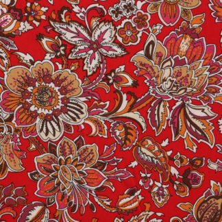 Verity Red Flower Cotton