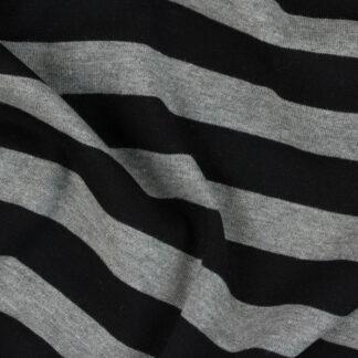 grey and black stripe cotton jersey