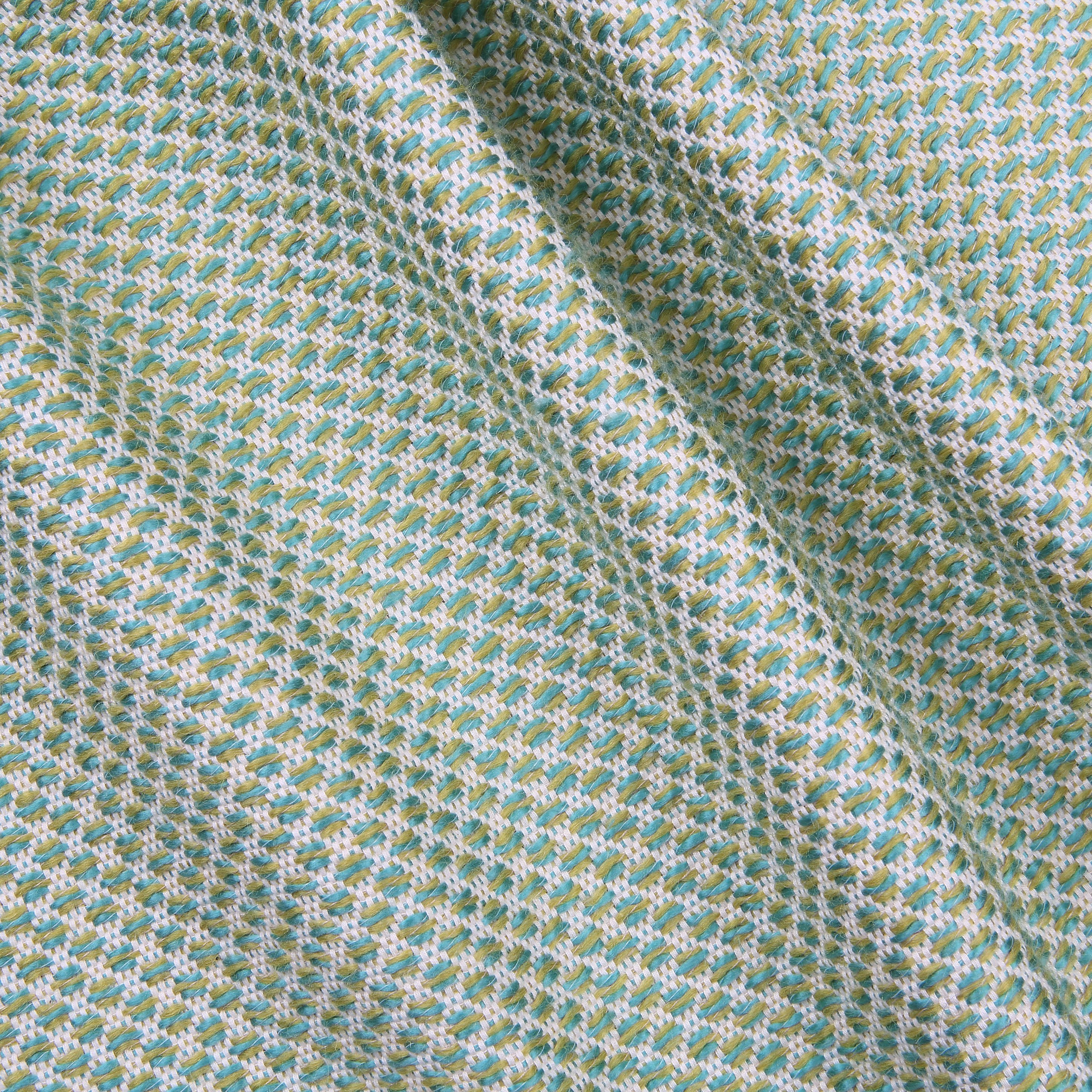 Teal honeycomb textured jacquard fabric in a soft cotton for Jacquard fabric