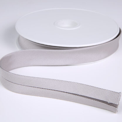 Gros Grain Bias Binding Silver 20mm