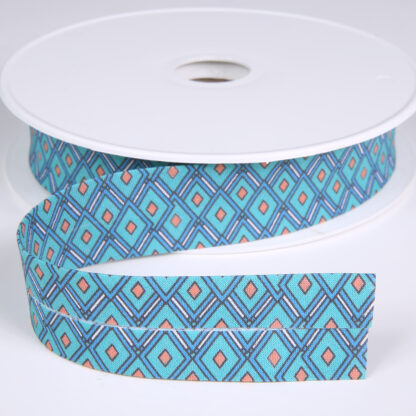 Stained Glass Pattern Bias Binding Turquoise