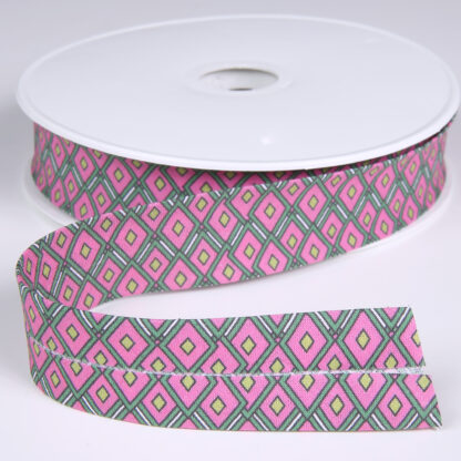 Stained Glass Pattern Bias Binding Pink 25mm