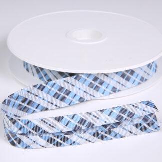 Light Blue Check Bias Binding 20mm